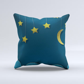 Paper Stars and Moon ink-Fuzed Decorative Throw Pillow