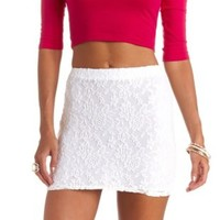 Bodycon Lace Mini Skirt by Charlotte Russe - Ivory