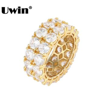 Uwin Wedding Ring Women/Men Full Iced Out Cubic Zirconia Rings Micro Pave 2 Row Bling CZ Fashion Jewelry Valentine's Day Gift