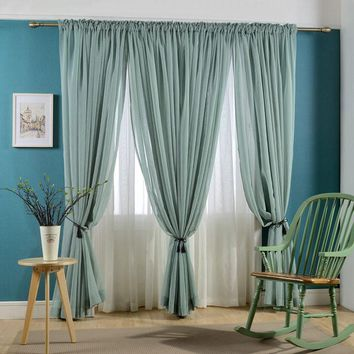 Faux Linen Voile Curtain Solid color Sheer Curtains Rod Pocket Modern tulle room home Yarn Window curtain Sold as single panel