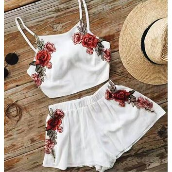 Flower Embroidery Crop Top with Short Skirt