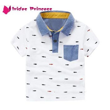 Boys T Shirts Summer T-shirts for Boy Short Sleeve Tops Tees Printed Kids Clothes Polo Shirt Children Clothing