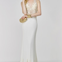 Alyce Paris 6506 Gold Beaded Halter Dress