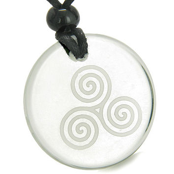 Amulet Triple Spiral of Life Magic Celtic Goddess Crystal Quartz Pendant Necklace