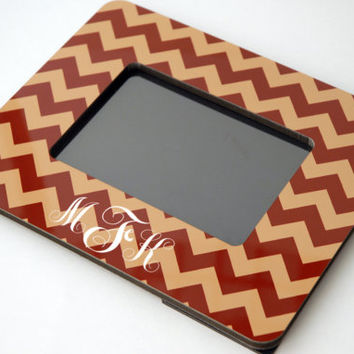 Geometric Chevron Personalized Wood Maroon + Gold Picture Frame, 2x3, 4x6, or 5x7, School Colors, Holiday Photo Frame, Grad Gift