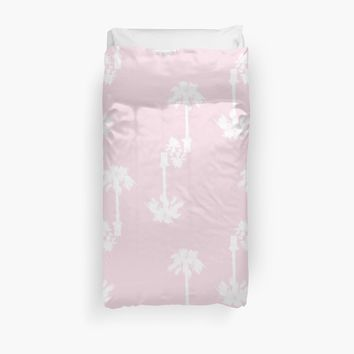 'Pink Palms Pattern' Duvet Cover by by-jwp
