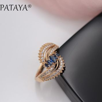 PATAYA New Arrivals Double Helix 585 Rose Gold Unique Rings Horse Eye Dark Blue Natural Zircon Women Luxury Romantic RU Jewelry