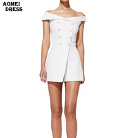 2016 Summer Sexy Regular Rompers Womens Jumpsuit Solid White Off the Shoulder Slim Double-Breasted Fashion Bodysuit Female Wear