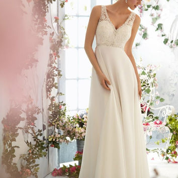 Chiffon Beach Wedding Dresses V-neck Low Back Vestidos de Novia Beaded Sequins Bohemian Bridal Gowns