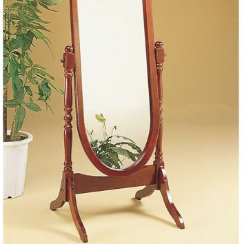 Walnut Oval Cheval Mirror