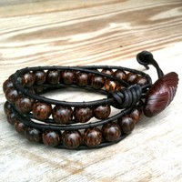 Lumberjack - black leather double-wrap bracelet brown wood beads mens | TOWNOFBEADROCK - Jewelry on ArtFire