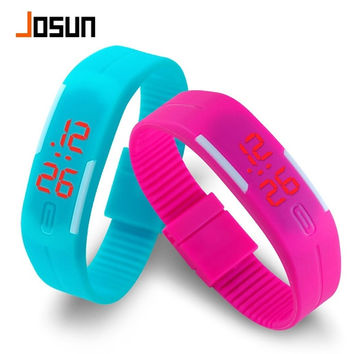 The New South Korean children jelly candy color waterproof electronic watch luminous watch lovers students touch LED Bracelet table = 1958396868