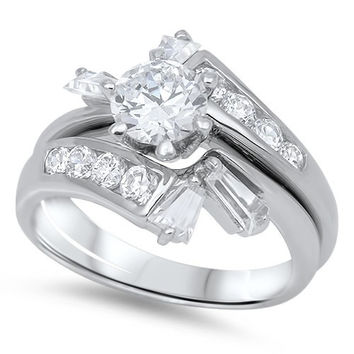 Sterling Silver CZ 1 carat Brilliant Round Cut Bypass Bridal Wedding Ring Set 5-10