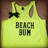 Beach Bum Neon Work-out Racerback Tank Top