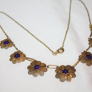 Art Deco Filigree Necklace, Filigree Flower Enamel Necklace, Filigree Enamel Flower, 1930s Jewelry