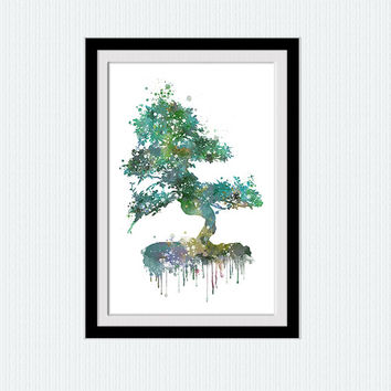 Tree watercolor print Winter tree colorful poster Tree painting Dome wall art living room hanging art Wall art for gift Kids room art  W281