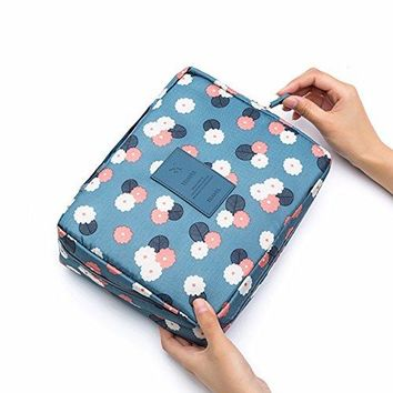 2 pack Printed Multifunction Travel Toiletry Bag Cosmetic Makeup Pouch, Waterproof Organizer Case