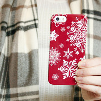 Red iPhone 6 Case Snowflakes, Winter iPhone 5S Case, Christmas iPhone 5C Case, Holiday iPhone 4S Case, Snow iPhone 5 Case
