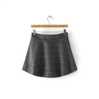 Plaid A-Line High-Waisted Woolen Skirt