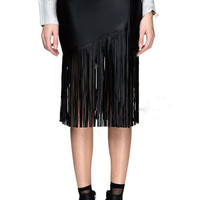 Black Faux Leather Tassel Trimmed Bodycon Skirt