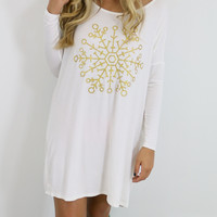 Snowed In Ivory & Gold Glitter Snowflake Dress