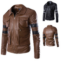 Multi Pockets Zip Up Slim Fit Faux Leather Jacket