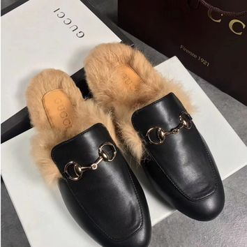 GUCCI Princetown Black Leather Slipper
