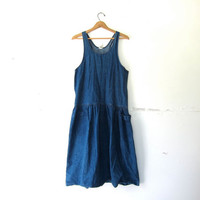 Vintage Jean Dress. Denim Apron Bib Dress. Long Midi Dress. Denim dress. Loose fit dress. Denim jumper dress. Open bust dress.