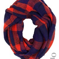 Plaid Infinity Scarf in Red