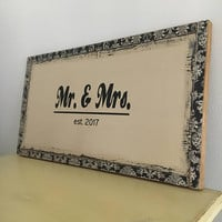 Mr and Mrs sign, wedding gift, bridal shower gift, last name, wedding welcome sign, rustic sign, unique gift for couple, housewarming gift