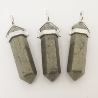1PC Natural Gemstone Pyrite Healing Crystal Point Pendant Pendulum, Pyrite Point Kids Gift, Teacher Gift