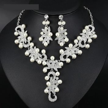 Pearl Bridal Jewelry Sets Floral Wedding Crystal Statement Necklace Earrings