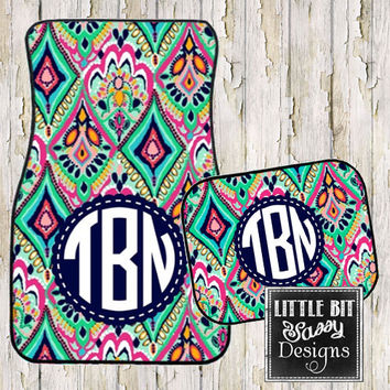 Car Mats Crown Jewels Geometric Personalized Monogrammed Floor Car Mat