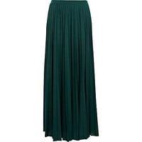 Dark green pleated maxi skirt - maxi skirts - skirts - women