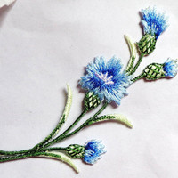 Iron On Patch Appliques - Flower Spray -blue