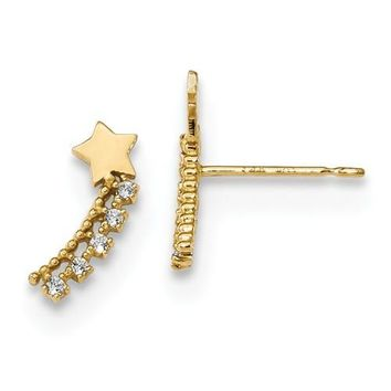 14k Yellow Gold Solid Madi K Youth CZ Shooting Star Post Climber Earrings