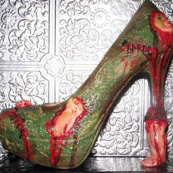 ultimate zombie heels with spare parts, stitches, and glittered sole