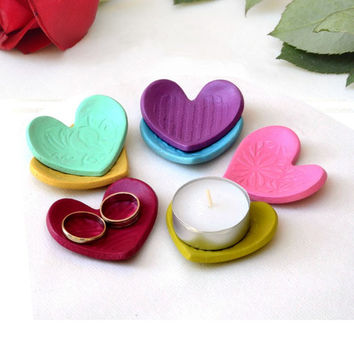 Heart Shaped Candle holder, Ring Dish, Party Favor, Wedding Favor, Shower Favor, Heart Dish, Ceramic Storage