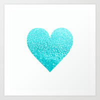AQUA HEART Art Print by Monika Strigel