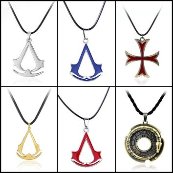 New Assassin's Creed necklace the Antique Silver Assassins Cosplay Pendant Game Accessories With Leather Rope