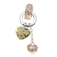 HEAVY SOLID 925 STERLING SILVER TRICOLOR HAWAIIAN SCROLL RING HEART PENDANT