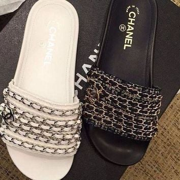 Fashion Online Chanel Shoes New 17 Spring Chain Slippers Silk And Satin Sandals I