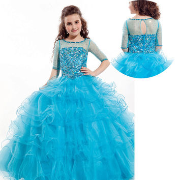 Royal Blue Kids Beauty Pageant Dresses For Junior Children Pageant Gowns Turquoise Flower Girl Dresses Peach Color Party Dress