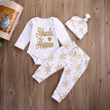 3pcs suit !! Baby Girl Boy Christmas Clothes Tops Miracles Happen Romper Pants Hat Outfit Set