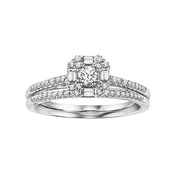 Cherish Always Diamond Engagement Ring Set in 10k White Gold (3/8 Carat T.W.)