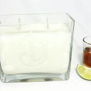 Recycled DeLeon Tequila Bottle Scented Soy Wax Candle/Two Wick Rectangle Glass Candle/Mexican Tequila Botella/Tabacco Scent