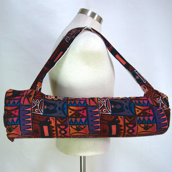 Geometric animal print yoga sling - Yoga bag for men and women - Yoga tote made in Eugene Oregon
