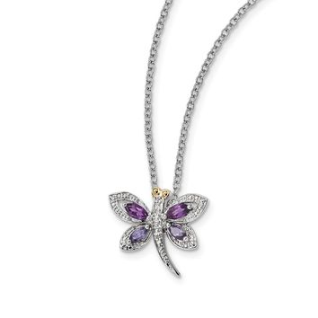 Sterling Silver Sterling Silver & Amethyst and Iolite and Diamond Dragonfly Necklace 17 Inch