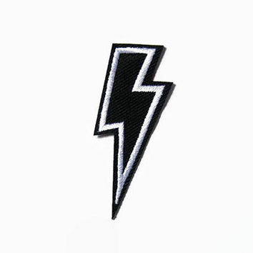 Lightning Bolt Applique - Thunderbolt Embroidered Iron On Patch - Lightning Bolt Patch - Lightening Flash Embroidered Applique - Pop Culture