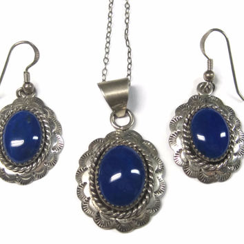Vintage Navajo Lapis Necklace Earring Jewelry Set Erma Francis